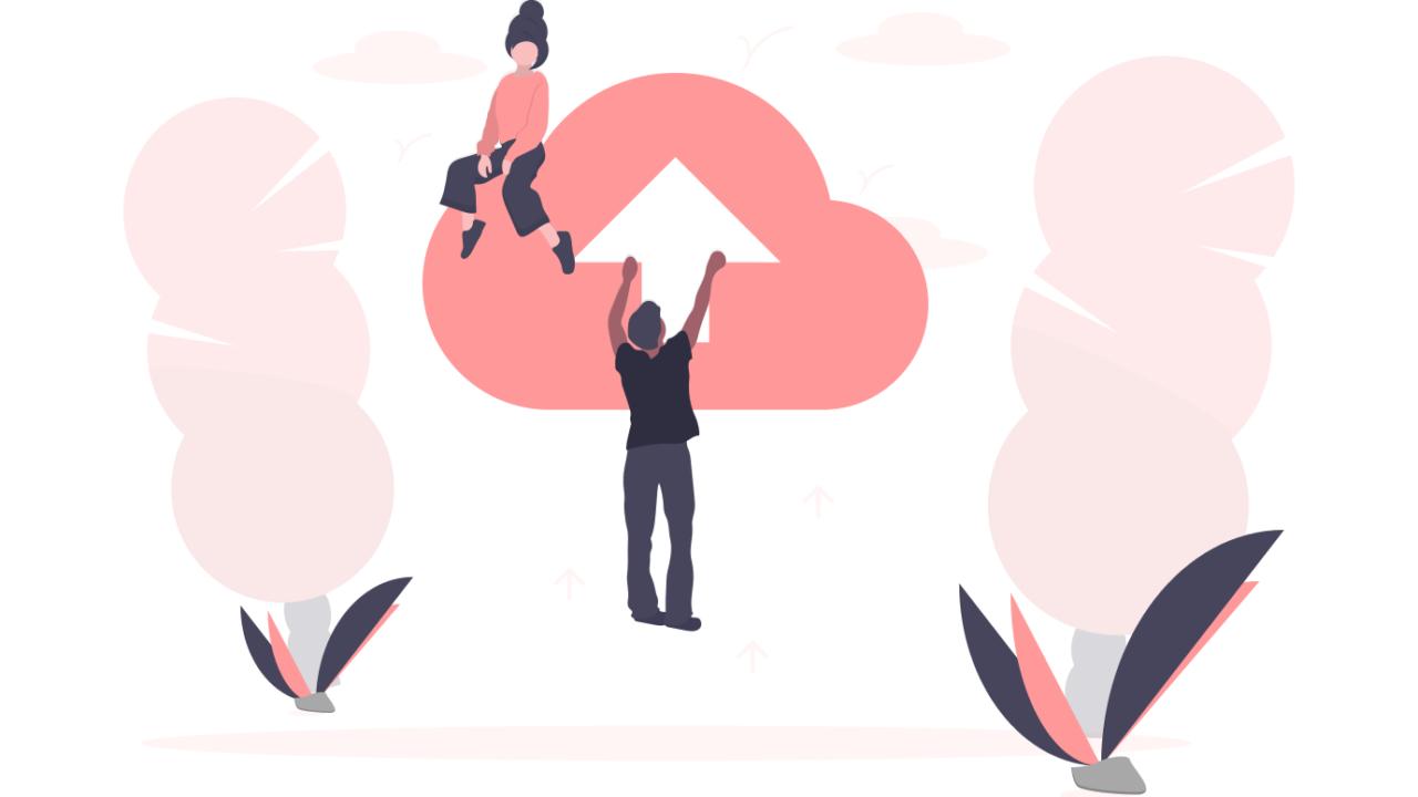 矢印の書いた雲に女性と男性が乗っている