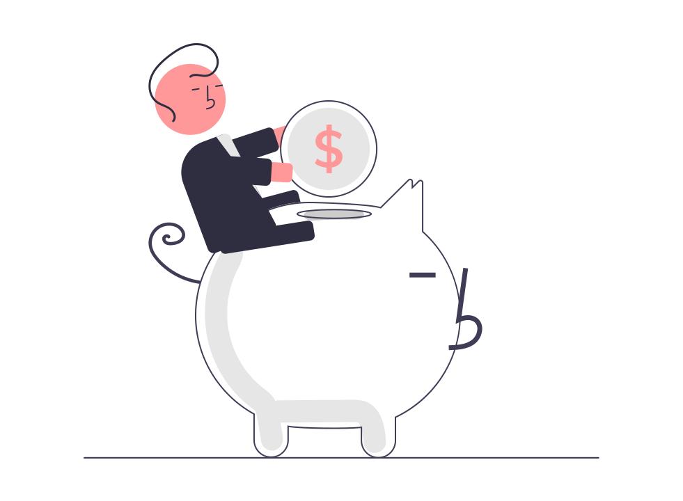 男性が豚の貯金箱に乗って小銭を入れている